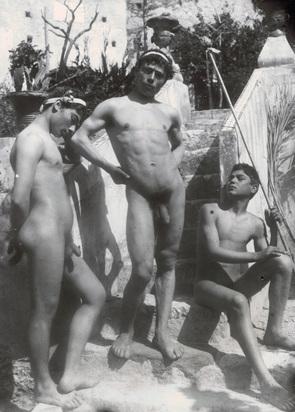 Gloeden Wilhelm von, 2 photographs: Drei Knaben posierend; Zwei Knaben an Mauer lehnend