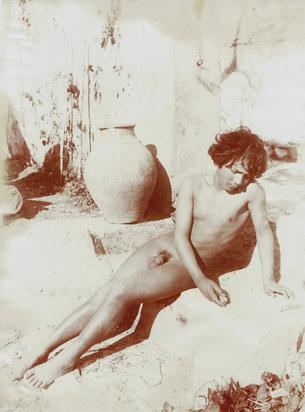 Gloeden Wilhelm von, 2 photographs: Reclining Boy, approx. 1895; Caino, approx. 1900