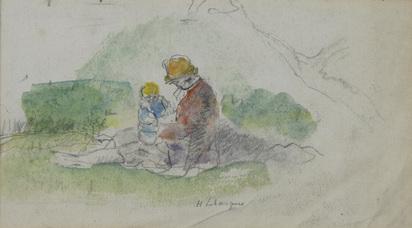 Lebasque Henri, Mère avec son bébé dans le paysage
