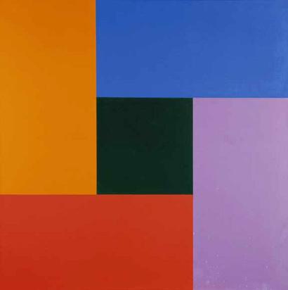 Lohse Richard Paul, Bewegung von Dunkelgelb über Rot, Violett, Blau zu grünem Zentrum, 1952/74