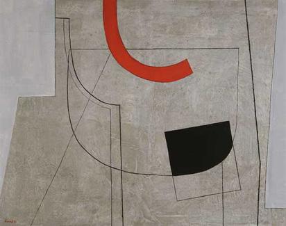 Konok Tamas, Peinture sur fond gris, III, 1974