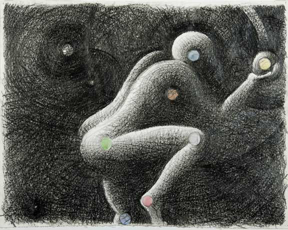 Raetz Markus, Untitled (Planeten - Ballspieler), 1981