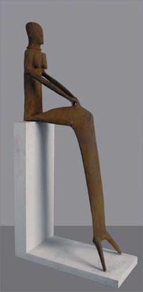 Fischer Lothar, Grosse schmale Sitzende im Gewand II, 1988