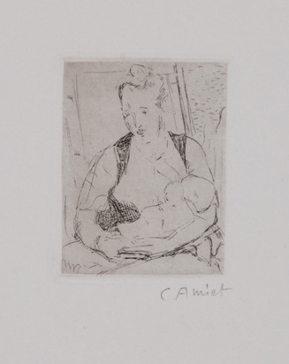Amiet Cuno, 2 sheets: Mother with child, 1905; Father of the Artist