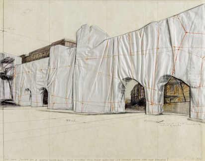 "Christo, The Wall (Project for a Wrapped Roman Wall - ""Porta Pinciana"" delle Mura Aureliane, via Vittorio Veneto and Villa Borghese)"