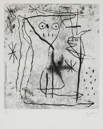 """Miró Joan, Jeune fille aux deux oiseaux, 1967, from """"Gérald Cramer, Trente ans d'activité"""""""