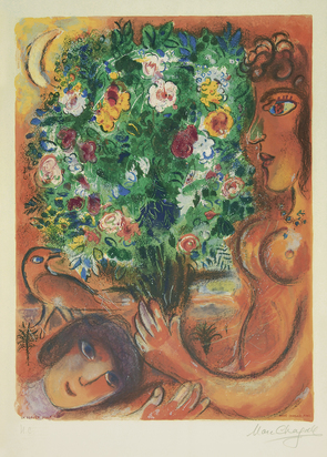"Chagall Marc, (after). Femme au bouquet, No. 12, from ""Nice et la Côte d'Azur"""
