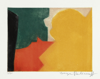 Poliakoff Serge, Composition verte, rouge et orange