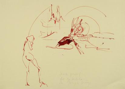 """Beuys Joseph, Ohne Titel - Geysir, Nymphe und blutender Riesenhirsch, from """"Spur I"""""""