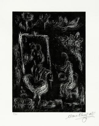 """Chagall Marc, Faut-il peindre la terre, le ciel, mon coeur, from """"Marc Chagall. Six gravures sur linoléum"""""""