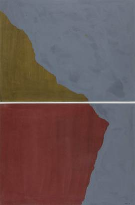 Lewitt Sol, Dyptich with Irregular Shapes on Two Different Colors