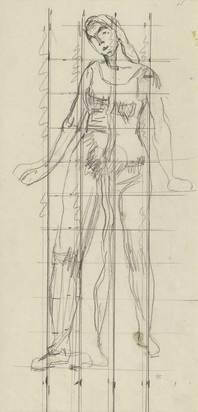 """Hodler Ferdinand, Single figure study to """"Blick in die Unendlichkeit"""""""