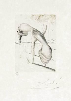 """Dalí Salvador, Téléphone mou, from """"Quinze gravures"""""""