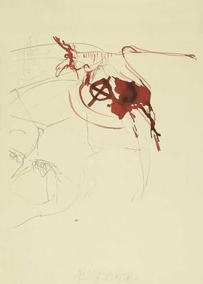 """Beuys Joseph, Untitled (Blutender Hirsch auf Schädel), from """"Spur I"""""""