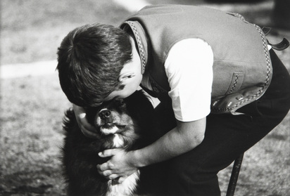 Fuchs Mäddel, 6 photographs: Hommage an Paul Senn, 1984; Zwei Bauern, 1989; Alpaufzug, 1990; Landschaft, 1990; Junge mit Hund, 1994; Dorfabstimmung, 1997