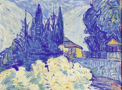 Lüthy Oscar, Landschaft mit Häusern