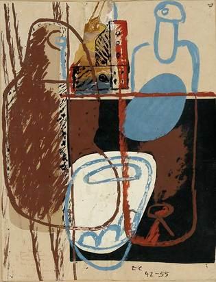 Corbusier Le, Nature morte, bouteilles, verres et carafes