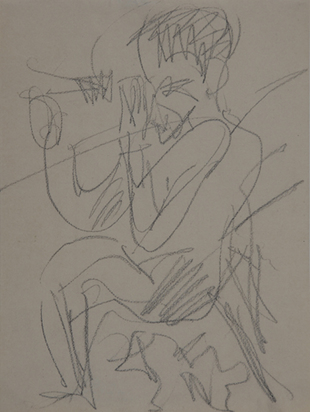 Kirchner Ernst Ludwig, Sitting Alpinist with Telescope, approx. 1919