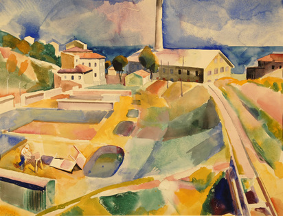 Patkó Karoly, Townscape with Chimney