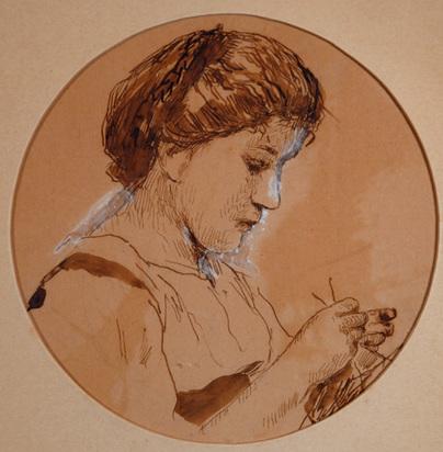 Anker Albert, Strickende Frau