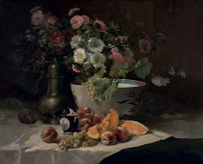 Cauchois Eugène-Henri, Bouquet de fleurs, pêches, raisin, cruche en étain, bol de porcelaine
