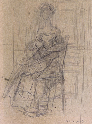 Dalí Salvador, Sans titre - étude pour le portrait de Madame X, approx. 1952