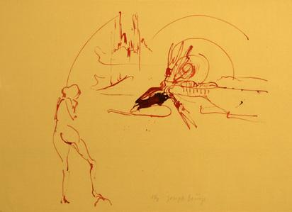 """Beuys Joseph, Untitled (Geysir, Nymphe und blutender Riesenhirsch), from """"Spur I"""", 1974"""