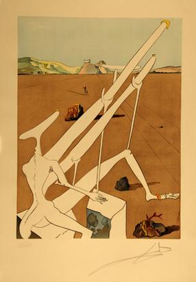 """Dalí Salvador, Dalí martien muni d'un double microscope holo-électronique, from """"La Conquête du cosmos"""", 1974"""
