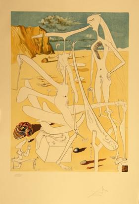 """Dalí Salvador, Infra-terrestres adorés par Dalí à 5 ans car il se croyait insecte, from """"La Conquête du cosmos"""", 1974"""