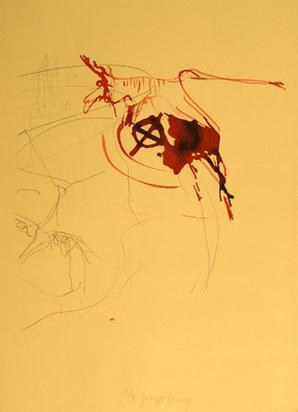 """Beuys Joseph, Untitled (Blutender Hirsch auf Schädel), from """"Spur I"""", 1974"""