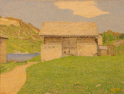Segantini Gottardo, Engadiner Landschaft mit Stall, 1961