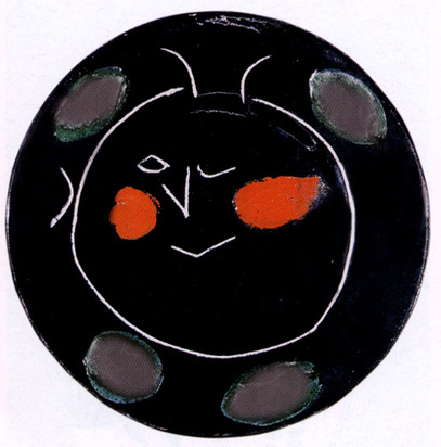 """Picasso Pablo, Plate K, from """"Black face"""" service, 1948"""