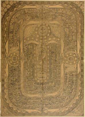 """Wölfli Adolf, Blatt aus Heft Nr. 13: """"Der heilige Skt. Adolf zerschlägt mit der Faust die Zellen=Thühre in der Waldau in Splitter"""", 1915"""
