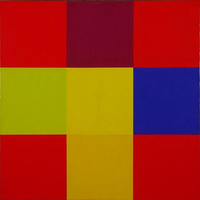 Lohse Richard Paul, Zwei komplementäre Kontraste mit roten Eckpositionen - Entwurf B, 1979
