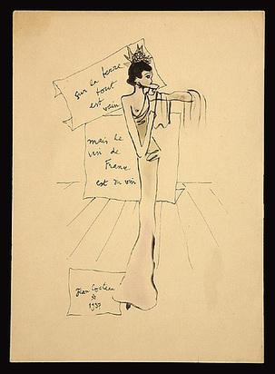 Cocteau Jean, Projet de robe pour Schiaparelli, 1937
