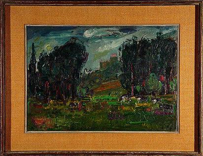Herbst Adolf, Landscape with Cows (Château St. Rémy), 1953