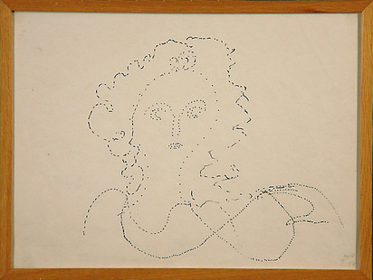 Oppenheim Meret, Women with Curls, Holding Her Necklace, 1958