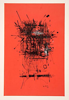Mathieu Georges, Composition sur fond rouge, 1958