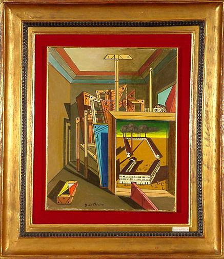 Chirico Giorgio de, Interno metafisico con officina, 1951