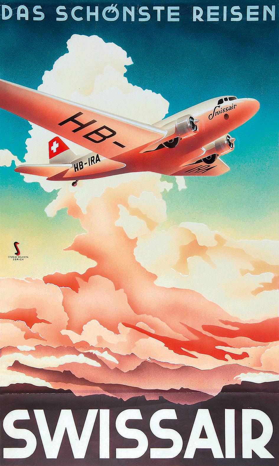Studio Selecta Zürich, Das schönste Reisen, Swissair, approx. 1937/38