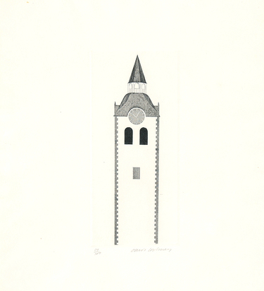 """Hockney David, The Church Tower and the Clock, from """"Six Fairy Tales from the Brothers Grimm"""""""
