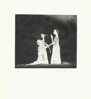 """Hockney David, Old Rinkrank Threatens the Princess, from """"Six Fairy Tales from the Brothers Grimm"""""""