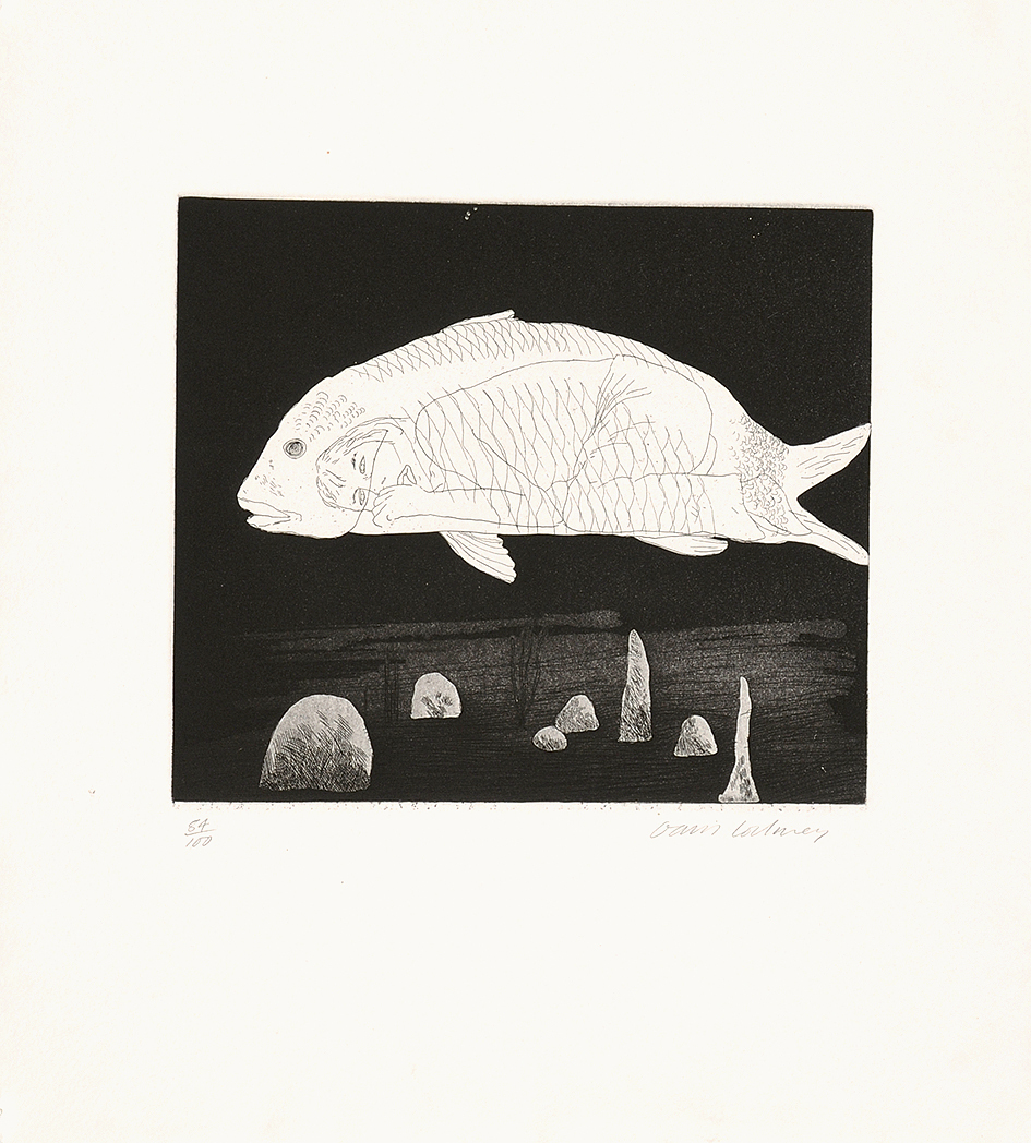"""Hockney David, The Boy Hidden in a Fish, from """"Six Fairy Tales from the Brothers Grimm"""""""