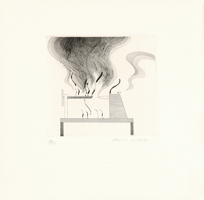 "Hockney David, The Lathe and Fire, from ""Six Fairy Tales from the Brothers Grimm"""