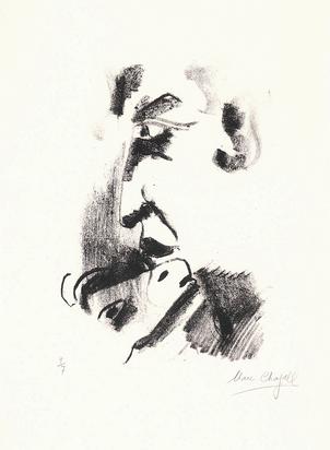 Chagall Marc, Profil d'homme à la chèvre