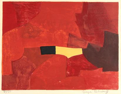 Poliakoff Serge, Composition lie-de-vin, jaune et noire