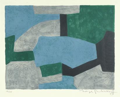 Poliakoff Serge, Composition grise, verte et bleue
