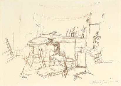 Giacometti Alberto, Sellette et tabourets dans l'atelier