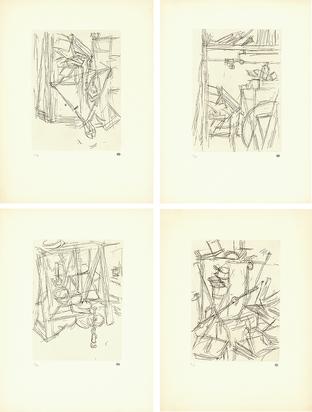 Giacometti Alberto, 4 etchings: Tenailles dans l'atelier de Diego; Coin de l'atelier de Diego I; Coin de l'atelier de Diego II; Cisailles dans l'atelier de Diego