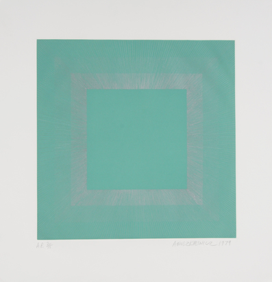 "Anuszkiewicz Richard, Green with Silver, from ""Winter Suite"""